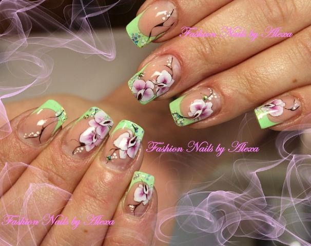 Дизайн орхидей на ногтях