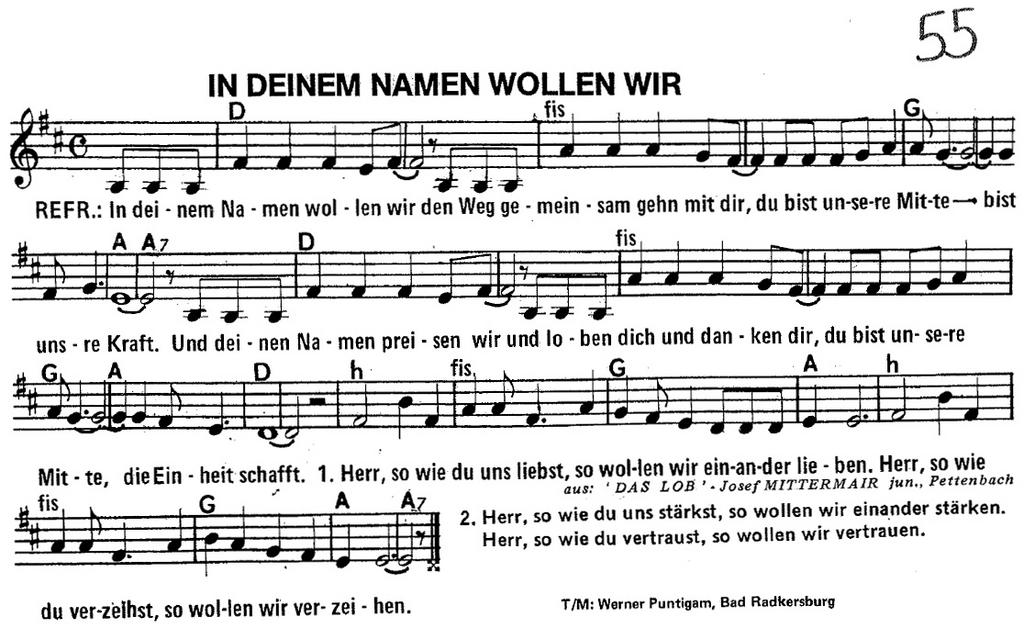 Noten für Kirchenlied!! In deinem Namen wollen wir