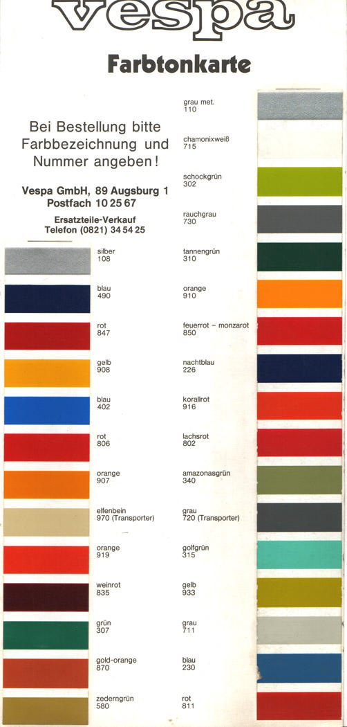 Vespa Paint Colors http://modernvespa.com/forum/topic32626