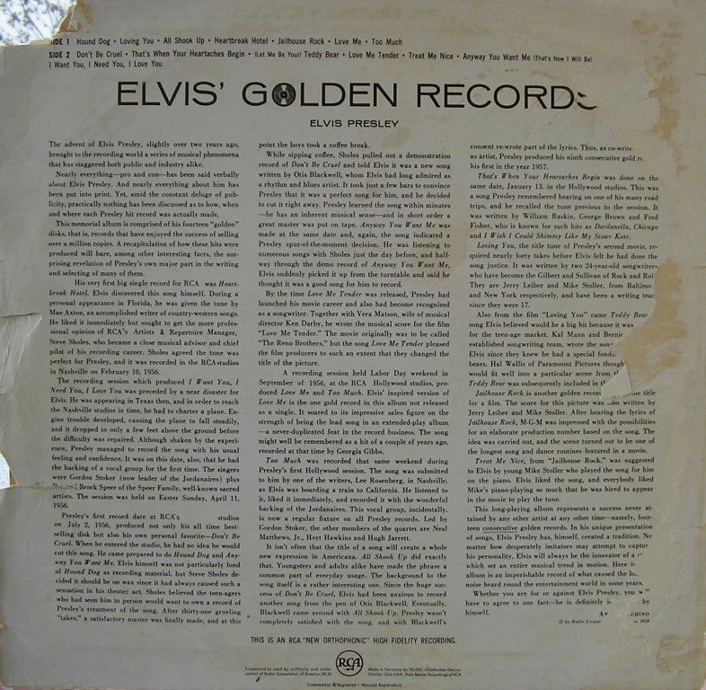 ELVIS' GOLDEN RECORDS 12992881hw
