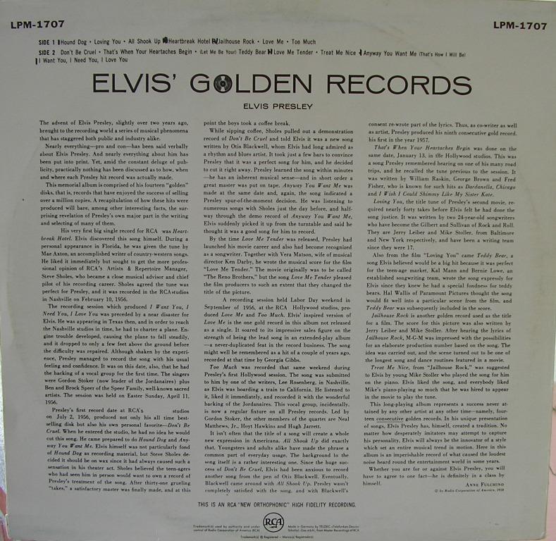 ELVIS' GOLDEN RECORDS 12992900um