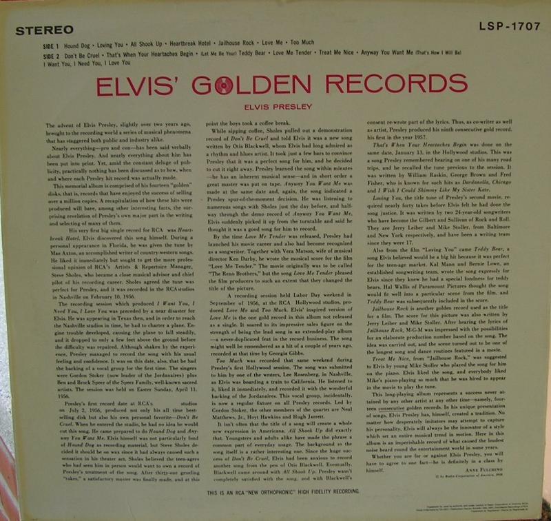 ELVIS' GOLDEN RECORDS 12993048zb