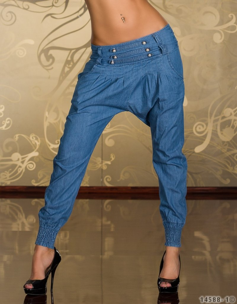 sexy damen pumphose haremshose neu jeanshose gr s m l. Black Bedroom Furniture Sets. Home Design Ideas