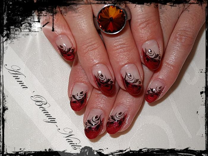 pin schwarzrot nageldesign bilder nailfreaks on pinterest. Black Bedroom Furniture Sets. Home Design Ideas