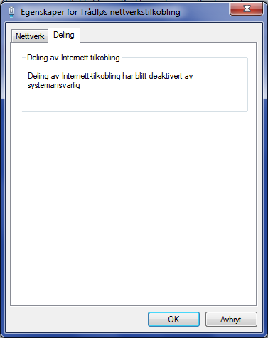 Internet Connection Sharing has been disabled by the Network
