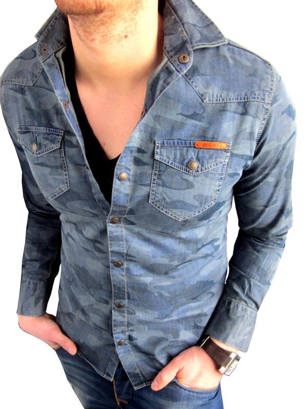 cipo baxx herren jeanshemd camouflage langarm hemd blau. Black Bedroom Furniture Sets. Home Design Ideas