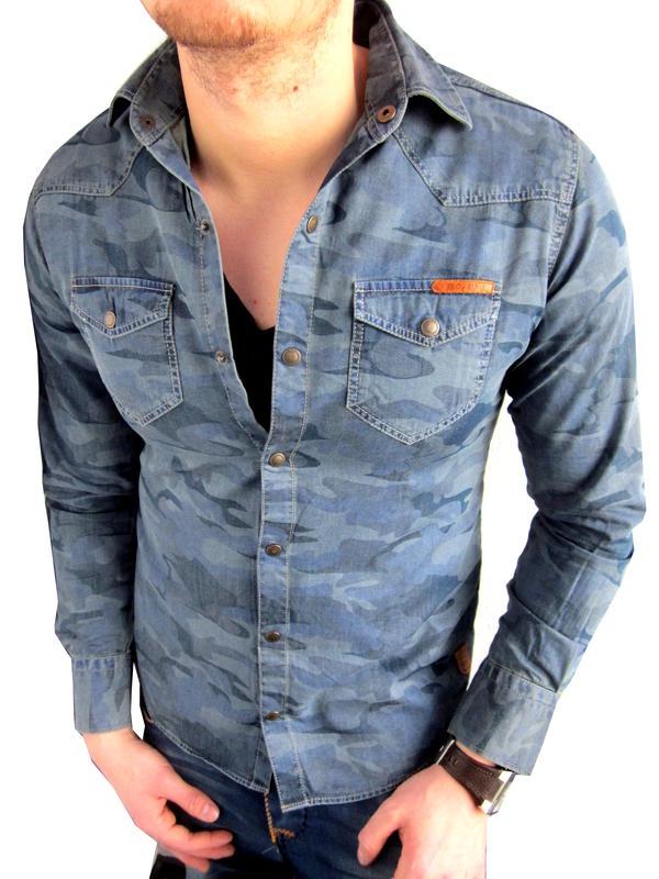 cipo baxx herren jeanshemd camouflage langarm hemd blau kaufen bei farbrichtung. Black Bedroom Furniture Sets. Home Design Ideas