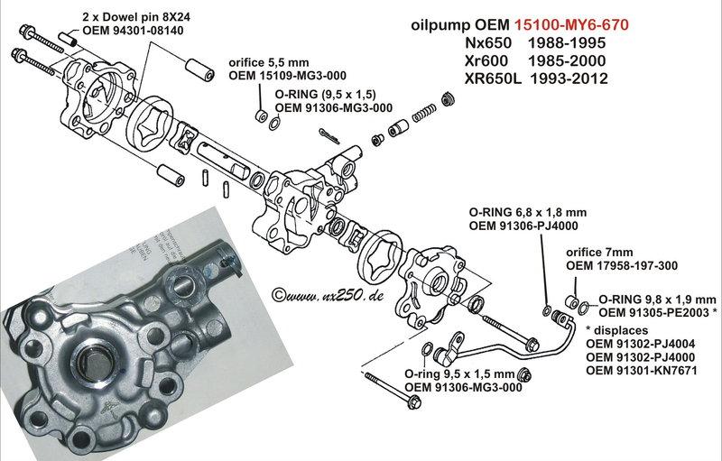 oil pump versions NX650 XR600 XR650L -