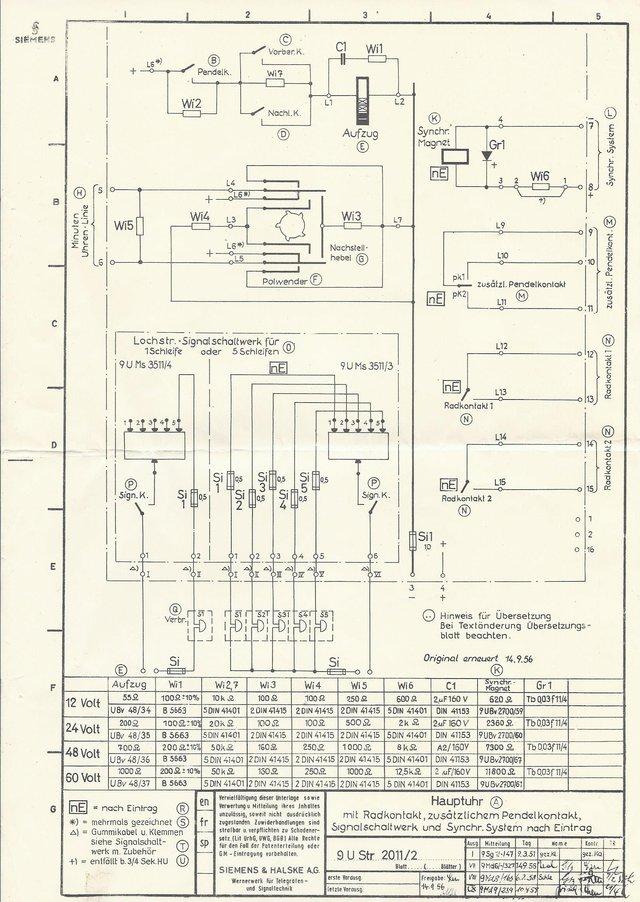 Elektrotechnik und Elektronik » Schaltplan für Siemens Hauptuhr