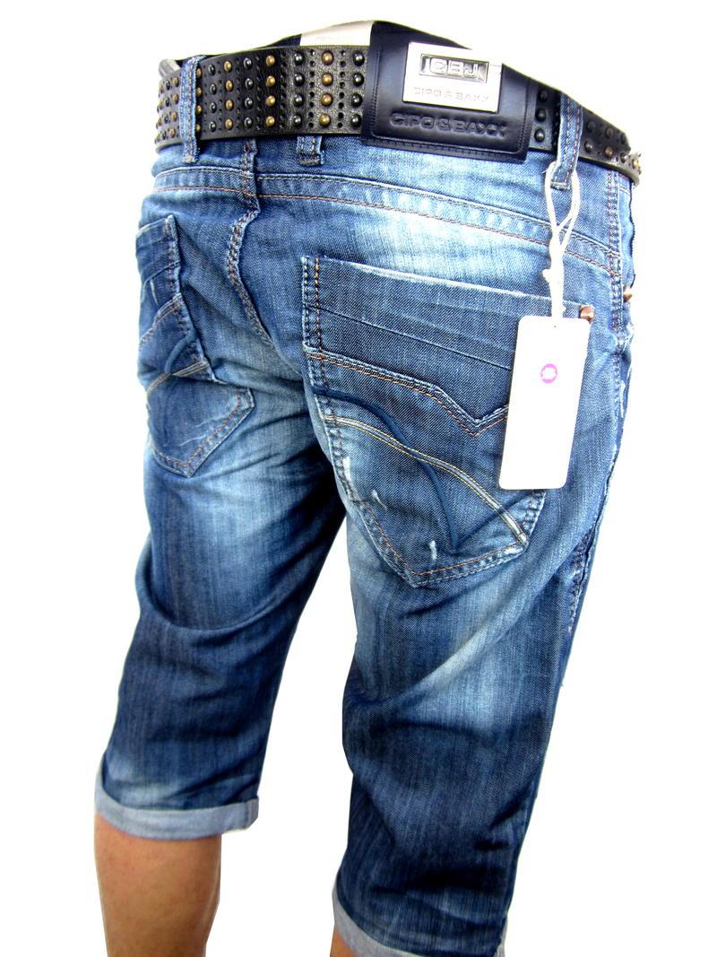 cipo baxx herren kurze hose jeans nieten caprihose bermuda shorts blau ebay. Black Bedroom Furniture Sets. Home Design Ideas