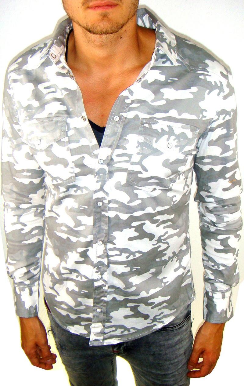 herren jeans hemd camouflage langarm grau party cool style tailliert stehkragen ebay. Black Bedroom Furniture Sets. Home Design Ideas