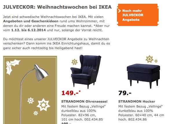 Galant Ikea Eckschreibtisch ~ LOKAL  Köln] IKEA STRANDMON Ohrensessel in blau  149€ statt 199