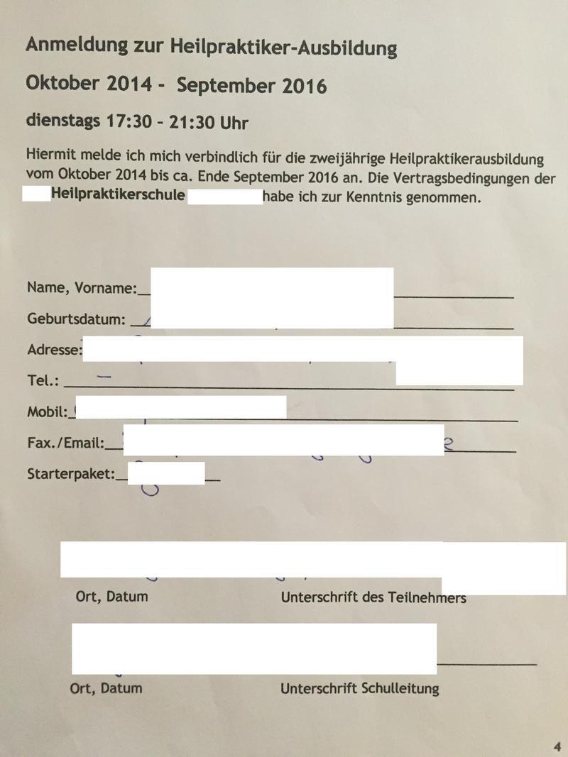 Ausbildungsvertrag Heilpraktikerschule kündbar ??? Vertragsrecht ...