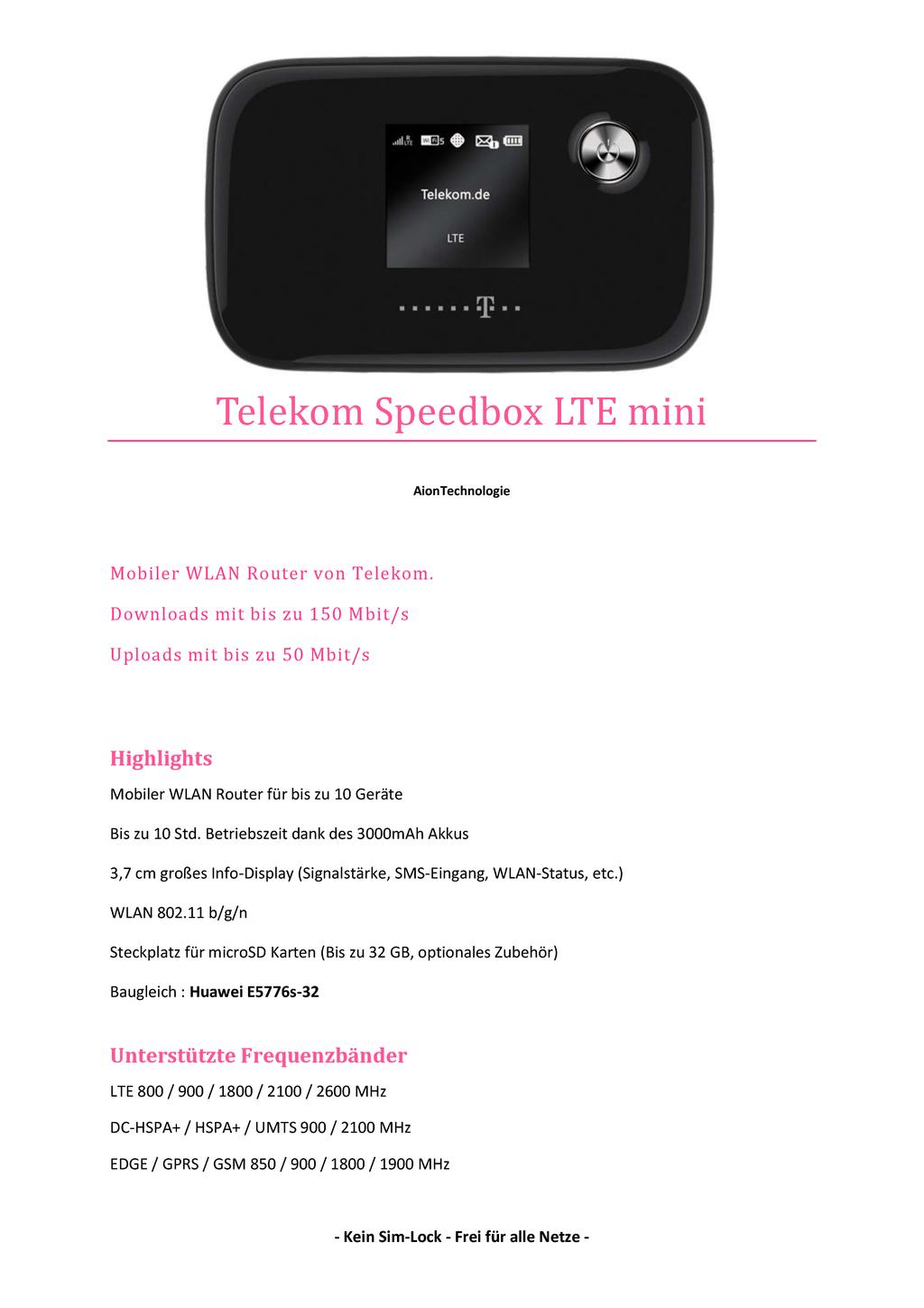 telekom speedbox lte mini huawei e5776s 32 mobiler lte. Black Bedroom Furniture Sets. Home Design Ideas