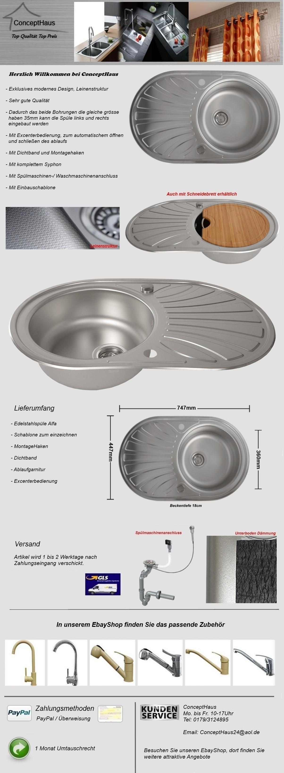 Edelstahlspüle LEINENSTRUKTUR Küchenspüle Einbauspüle  ~ Spülbecken Oval