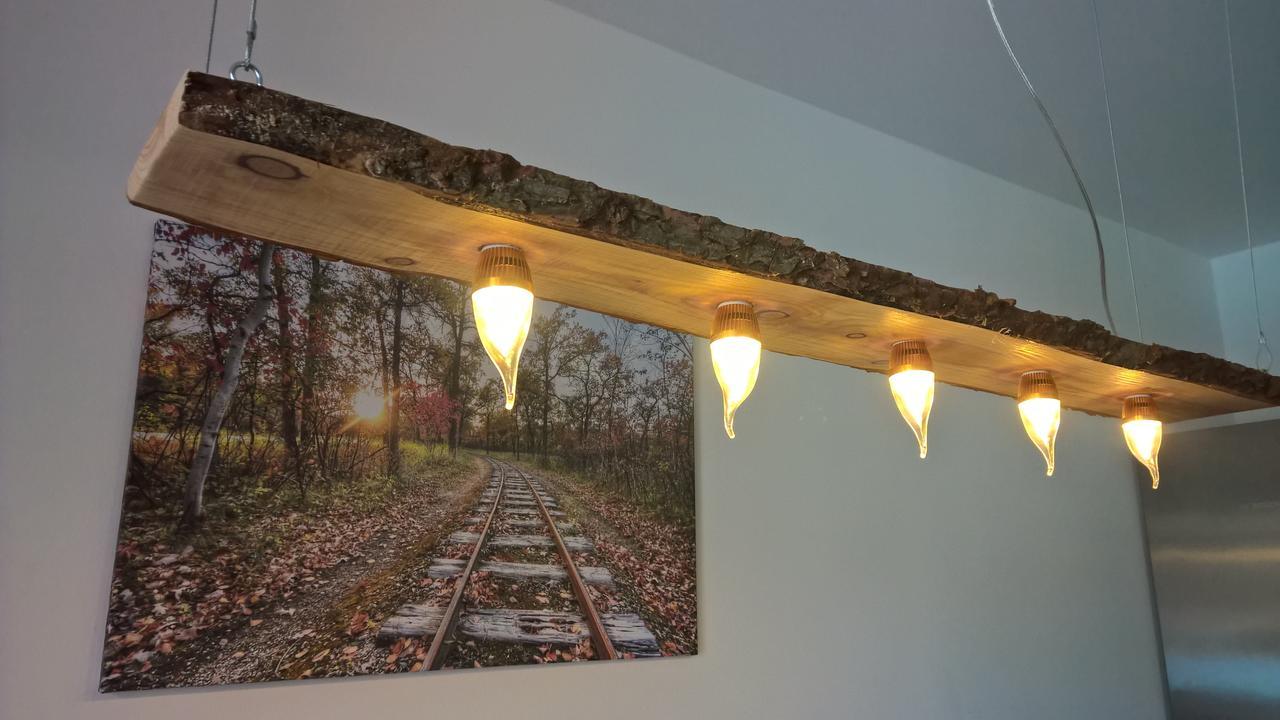 led decken holz lampe rustikal 180cm 8x 7w massivholz douglasie ebay. Black Bedroom Furniture Sets. Home Design Ideas