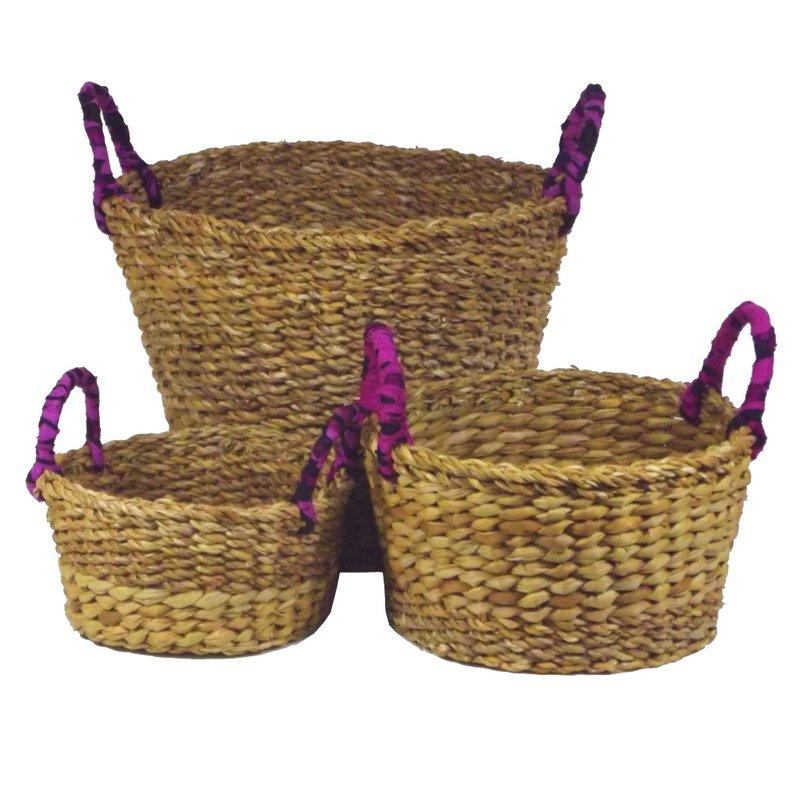 flechtkorb rund mit lila henkel seegras handarbeit aufbewahrung fair trade ebay. Black Bedroom Furniture Sets. Home Design Ideas
