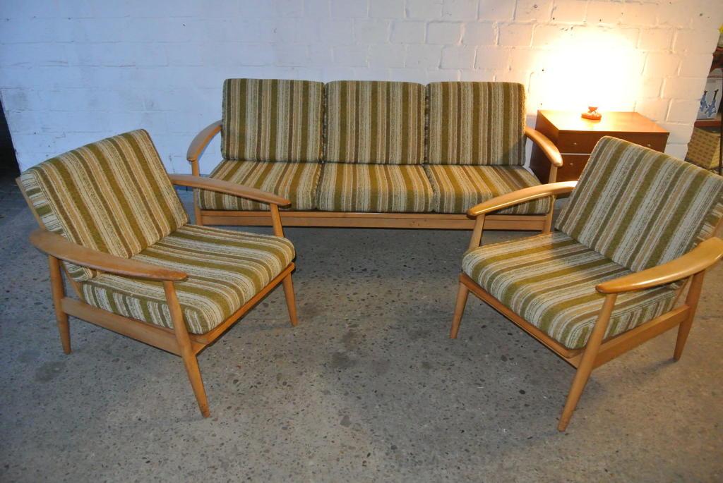 50er 60er jahre sitzgruppe sofa 2 sessel d nischer for Sofa 50er jahre stil