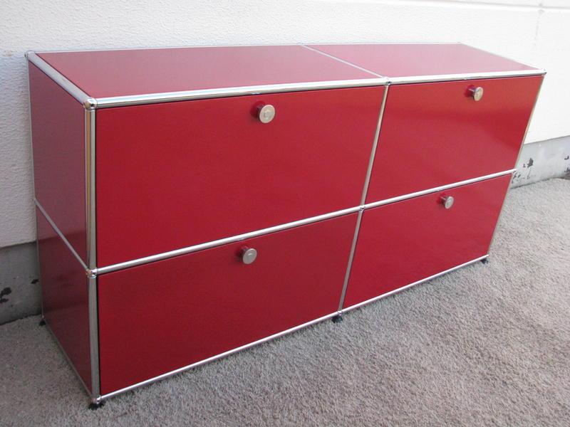 usm haller sideboard 4 klappen usm rot ebay. Black Bedroom Furniture Sets. Home Design Ideas