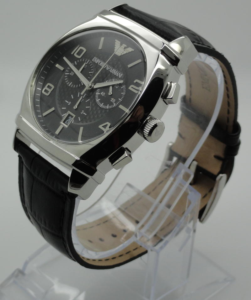 emporio armani ar0347 armbanduhr chronograph lederarmband. Black Bedroom Furniture Sets. Home Design Ideas