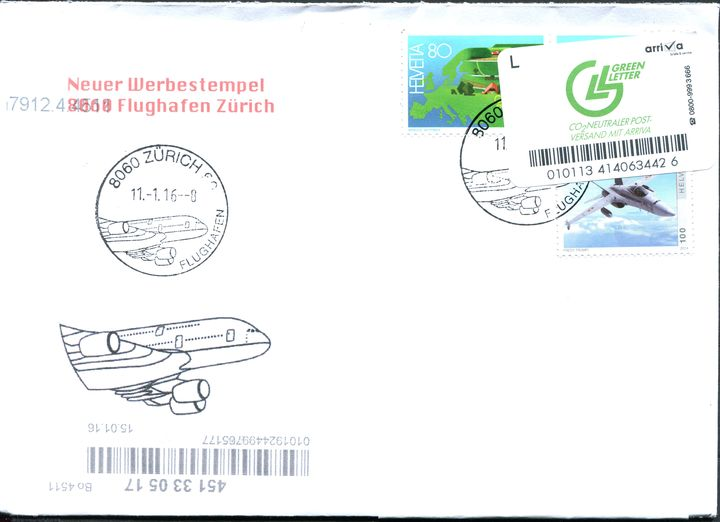 Neuer Werbedatumstempel Flughafen Zürich 24332110si