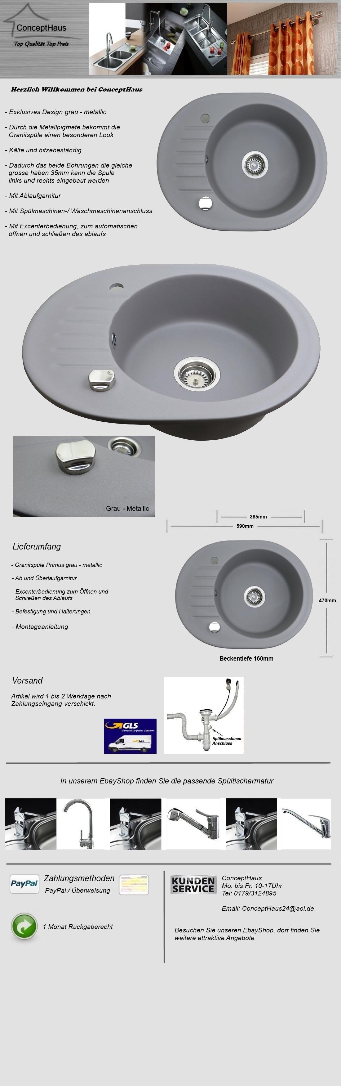 granitsp le grau metallic einbausp le sp le sp lbecken granit k che oval ebay. Black Bedroom Furniture Sets. Home Design Ideas