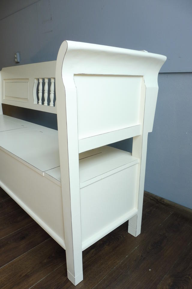 truhenbank sitzbank holzbank k chenbank in weichholz creme weiss neu ebay. Black Bedroom Furniture Sets. Home Design Ideas