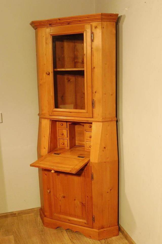 weichholz eckschrank schrank ecksekret r vitrine buffet in. Black Bedroom Furniture Sets. Home Design Ideas