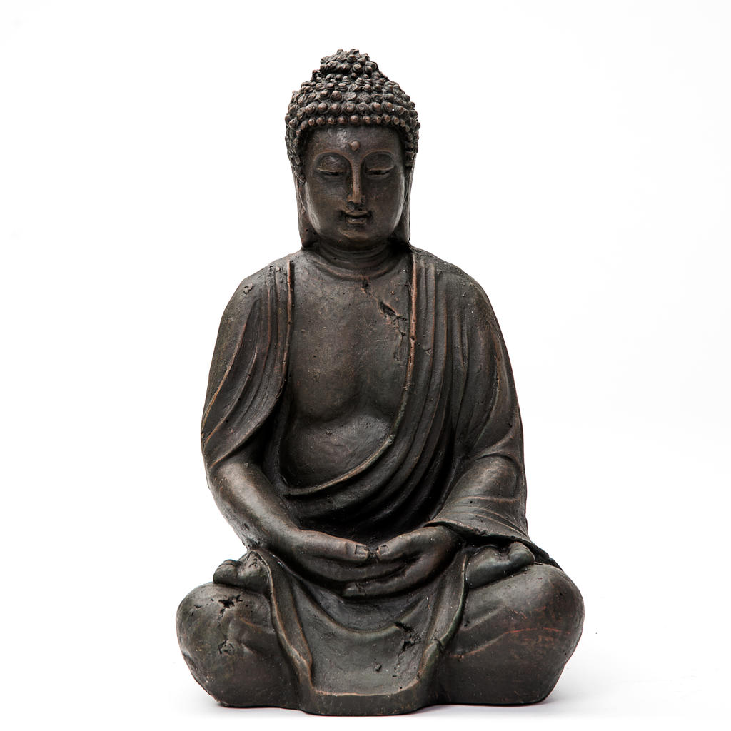 buddha deko figur budda skulptur buddhismus statue feng shui gl ck joga 38 cm ebay. Black Bedroom Furniture Sets. Home Design Ideas