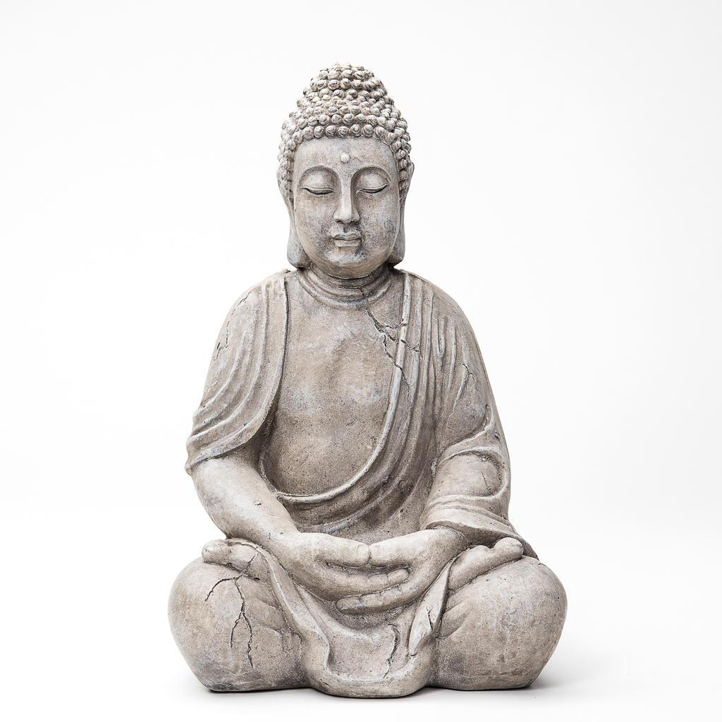 buddha deko figur budda skulptur buddhismus statue thailand feng shui gl ck 50cm ebay. Black Bedroom Furniture Sets. Home Design Ideas