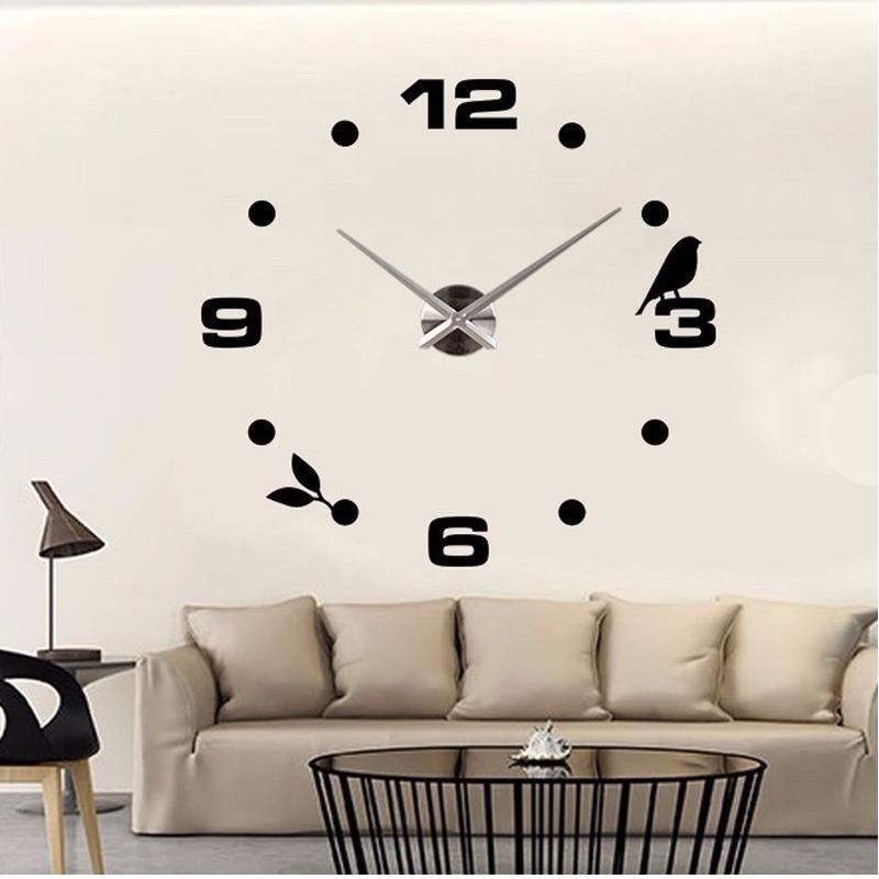 xxl design wanduhr 3d wandtattoo deko edelstahl spiegel neu ovp chrom luxus ebay. Black Bedroom Furniture Sets. Home Design Ideas