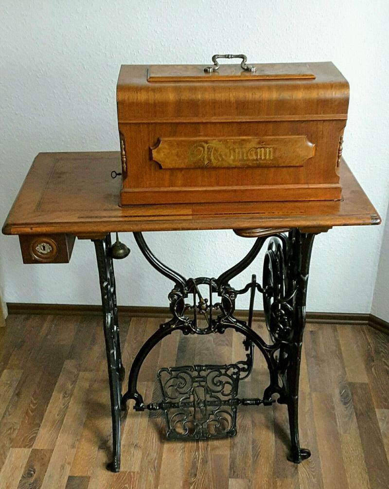 antike n hmaschine seidel naumann kombi tisch gusseisengestell funktioniert ebay. Black Bedroom Furniture Sets. Home Design Ideas