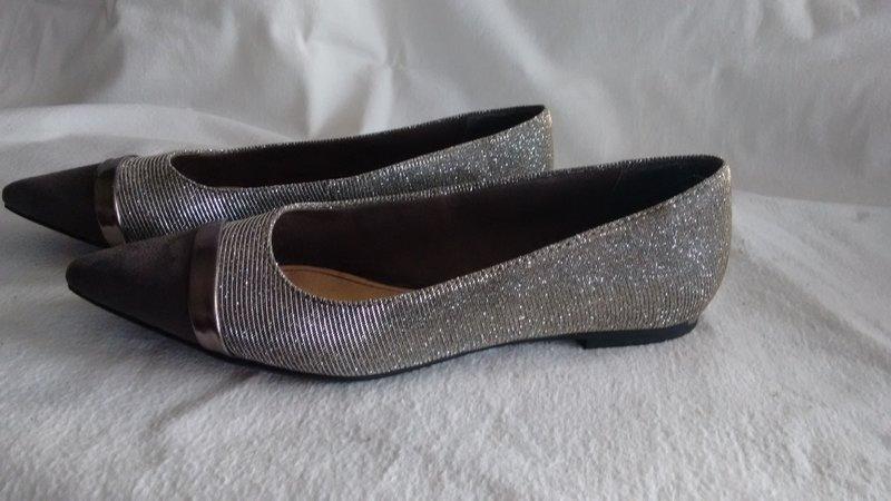 tamaris ballerina spitz glitzer grau silber gr 36 uk 3 5 wie neu ebay. Black Bedroom Furniture Sets. Home Design Ideas