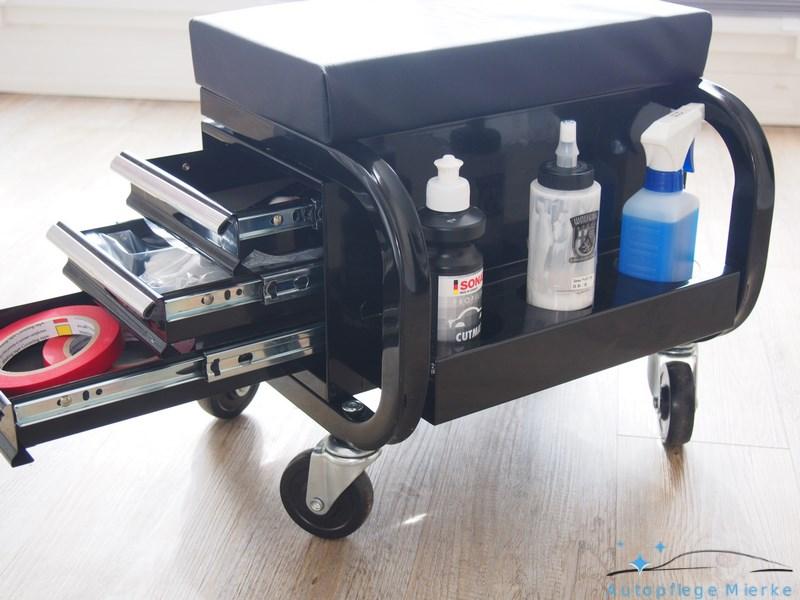 werkstatthocker mit rollen 3 schubladen sonstige hilfsmittel. Black Bedroom Furniture Sets. Home Design Ideas