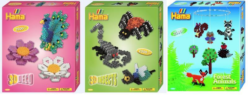 Hama Midi Bu00fcgelperlen Set Geschenkpackung 2500 Perlen Stiftplatte Motiv 3D Tiere