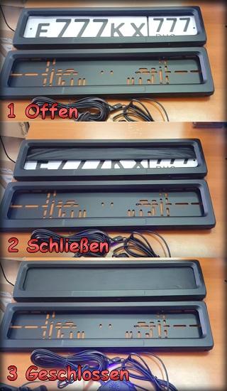 2x nummernschildhalter kennzeichenhalter 12v mit rollo up down elektrische set ebay. Black Bedroom Furniture Sets. Home Design Ideas