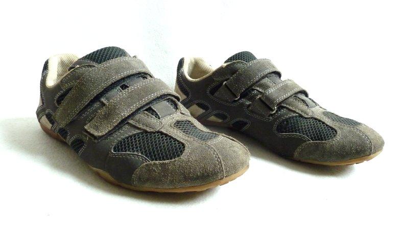 sneakers aus leder mit klettverschluss gr 42 herren schuhe men shoes grau ebay. Black Bedroom Furniture Sets. Home Design Ideas