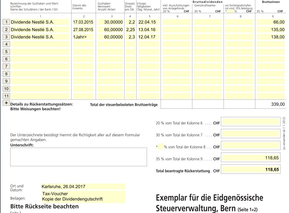 Schweizer Quellsteuer, Formular 85 | Wirtschaft und Finanzen | Das ...