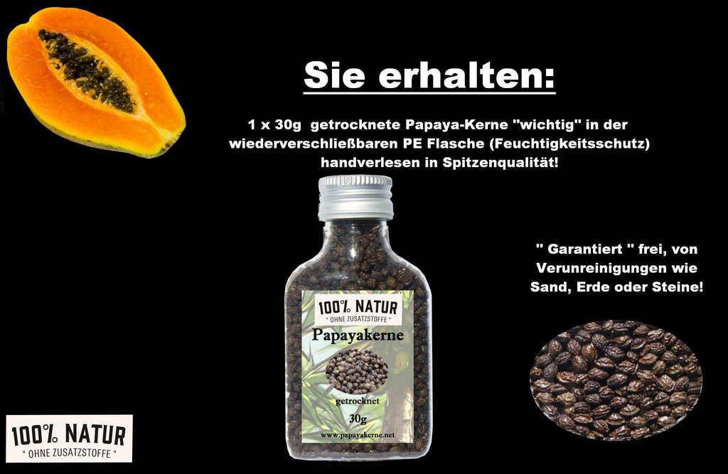 23 00 100g papaya kerne papain in deutschland kontrolliert verarbeitet 30g ebay. Black Bedroom Furniture Sets. Home Design Ideas