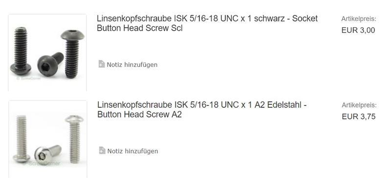 Socket Button Head Screw Scl Linsenkopfschraube ISK 6-32 UNC x 1//4 schwarz