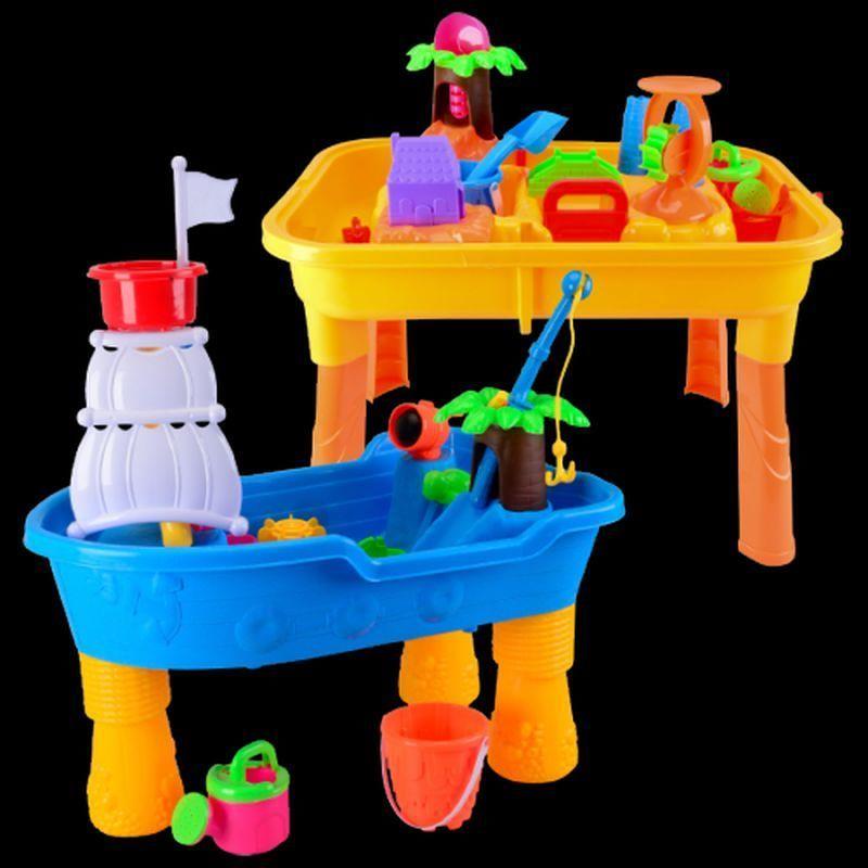 sand wasserspieltisch matschtisch mit viel zubeh r blau. Black Bedroom Furniture Sets. Home Design Ideas