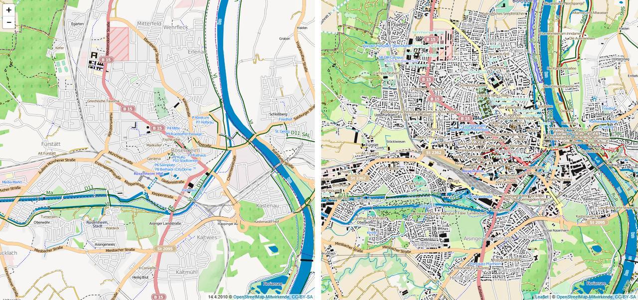 Vergleich OSM 04/2010 10/2017 Rosenheim