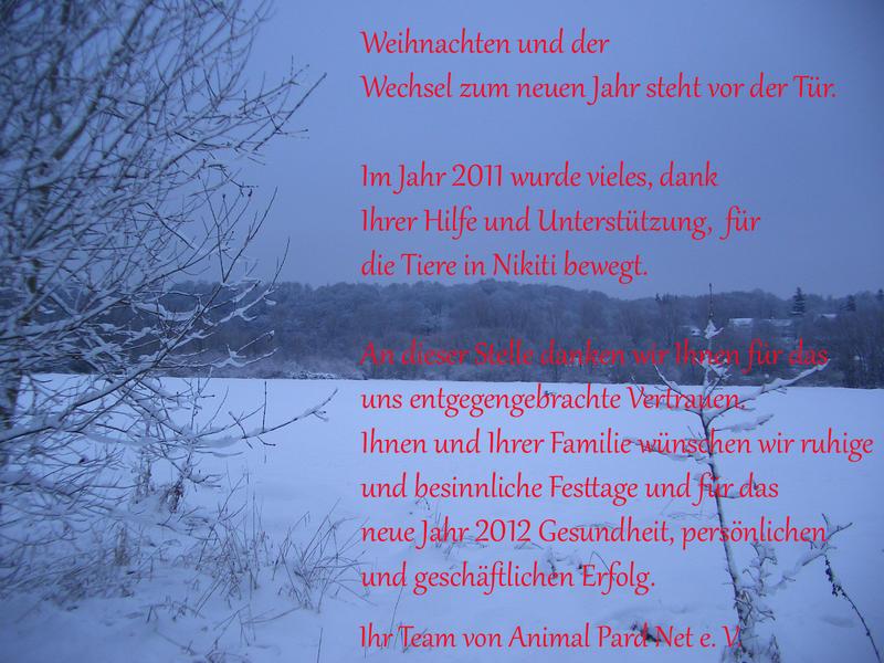 Gesegnete Weihnachten und ein glückliches neues Jahr ...