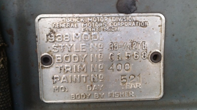1938 Special firewall name plate - Buick - Pre War ...