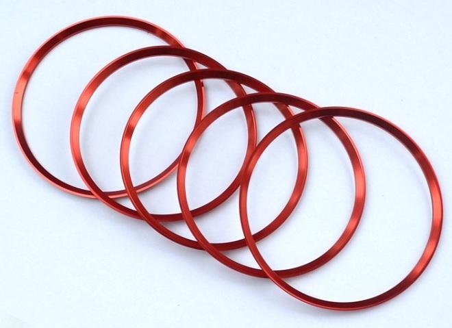 5x Lüftung Ring Rahmen Blende Abdeckung ROT Mercedes Benz  A B CLA GLA AMG Alu