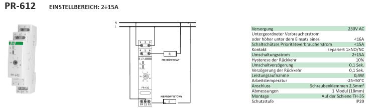 F/&f pr-612 priorité relais surcharge relais disjoncteurs Protège électricité relais