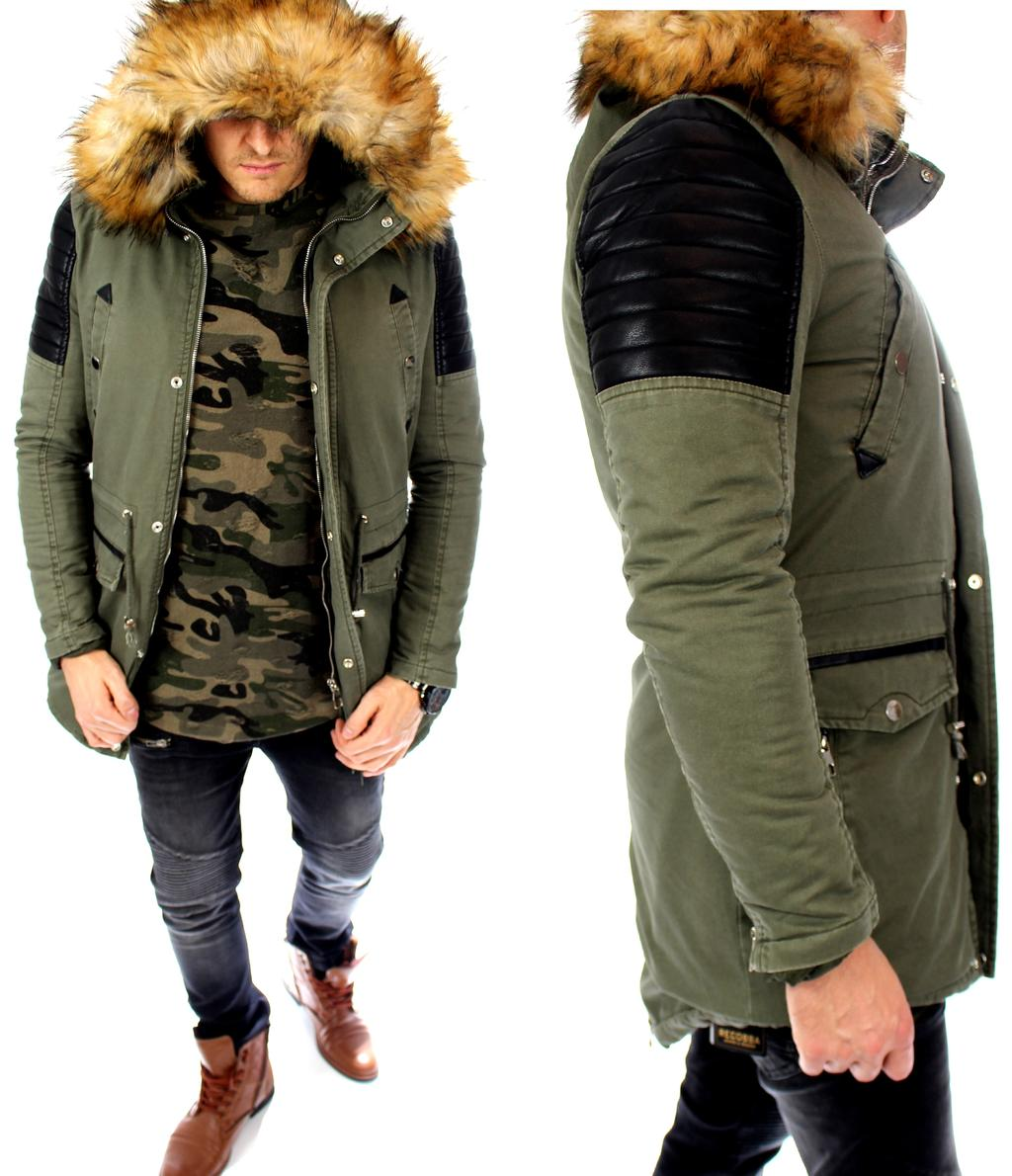 herren parka kapuzenjacke mantel khaki winterjacke alaska. Black Bedroom Furniture Sets. Home Design Ideas