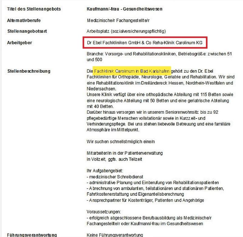 Stellenangebot Carolinum: Kaufmann/frau im Gesundheitswesen od. Med ...