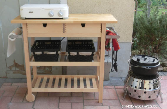 Outdoor-Kitchen... Servierwagen gepimpt...