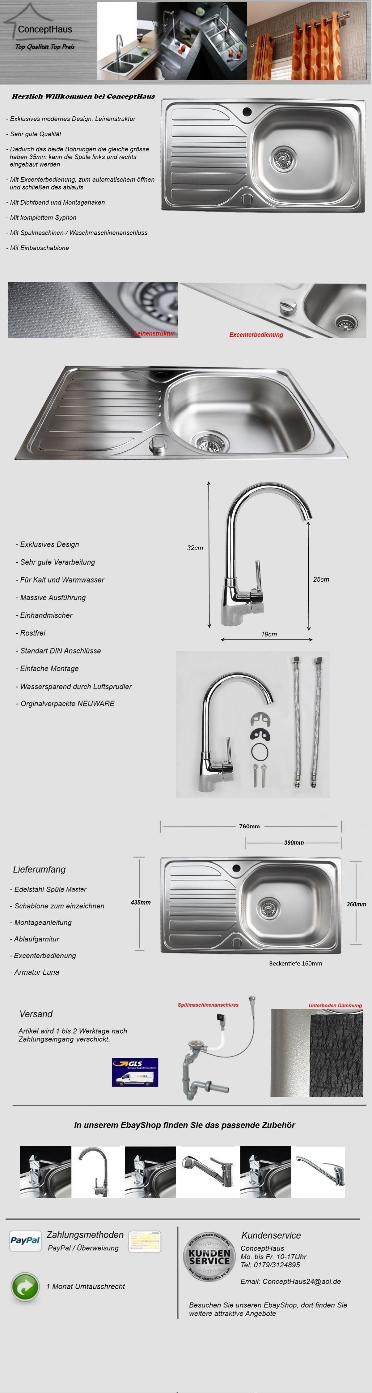 Edelstahlspüle Master in LEINENSTRUKTUR Armatur Küchen Einbauspüle Spüle  Spülbecken